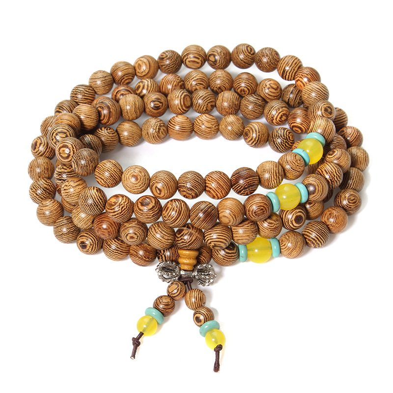 108 Wenge Wood Buddha Buddhist Prayer Beads Necklace Br