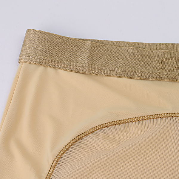 Sexy Transparent Ultra Thin Net Yarn Mesh Breathable Golden Waistband Boxers Underwear for Men