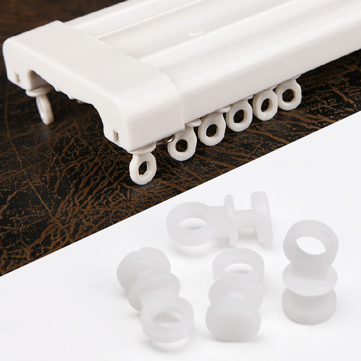 50Pcs Plastic Curtain Track Rollers Glider Carriers Slide Wheels Rail Hooks