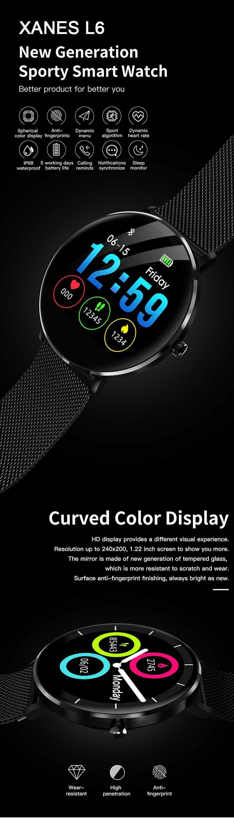 XANES L6 1.22'' Color Touch Screen IP68 Waterproof Smart Watch Heart Rate Monitor Multiple Sports Modes Fitness Smart Bracelet