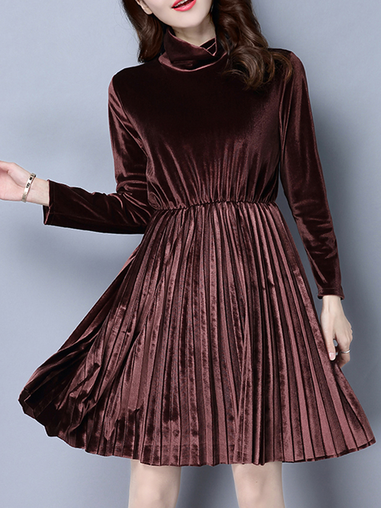 Elegant Pleated Gold Velvet Turtleneck Tunic Long Sleeve Women Dress