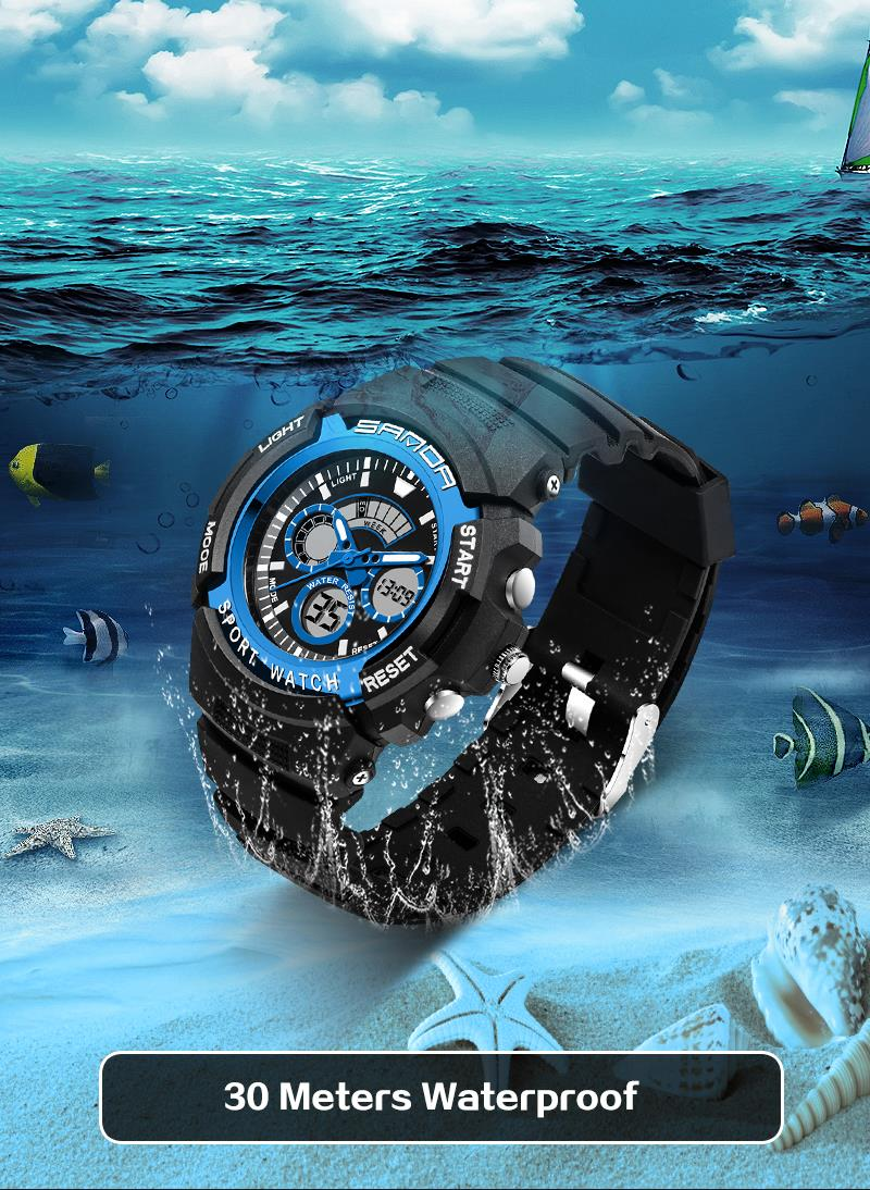 SANDA 138 Fashion Children Digital Watch Swimming Dual Display Kids Sport Watch