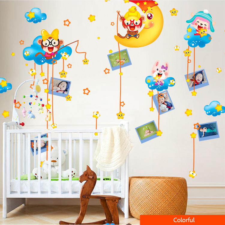 Lovely Kids Monkey Room Decor Kids Room Wall Sticker Removable Monkey Stars Wall Sticker