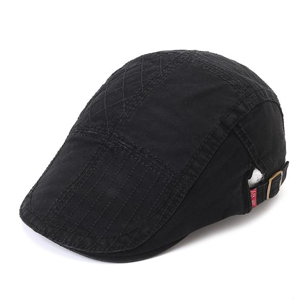 Men Stripes Casual Cotton Beret Cap Buckle Adjustable Sunshade Forward Golf Hat