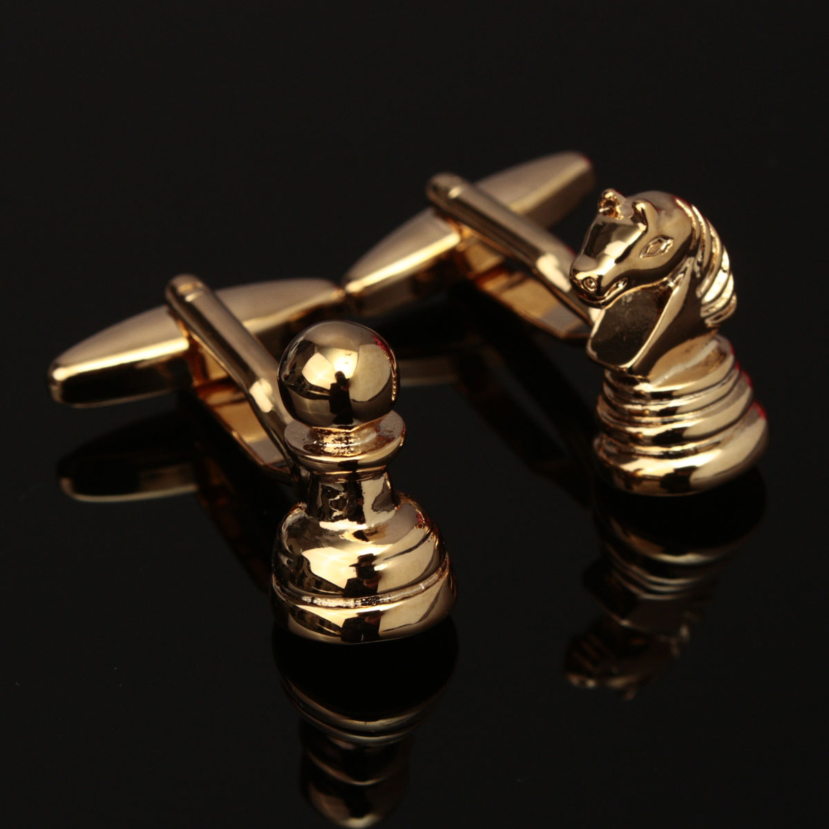 Men Male Gold Chess Pattern Cuff Links Wedding Gift Suit Shirt Accessories