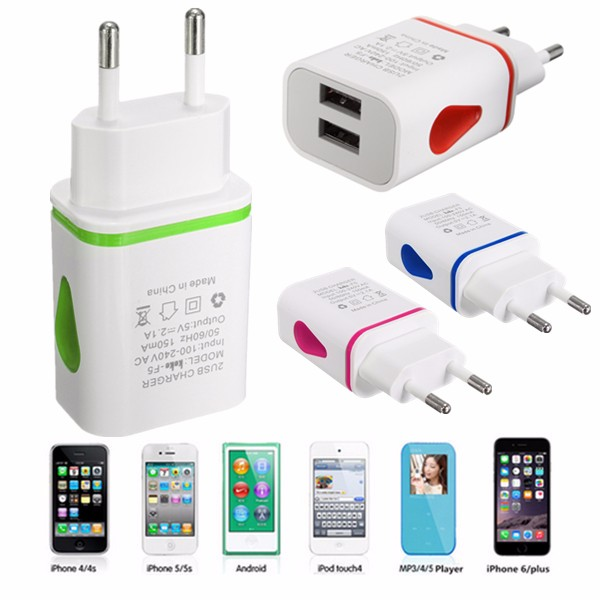 Dual USB 2.1A/1A Home Wall Power Charger Adapter For Mobile Phone