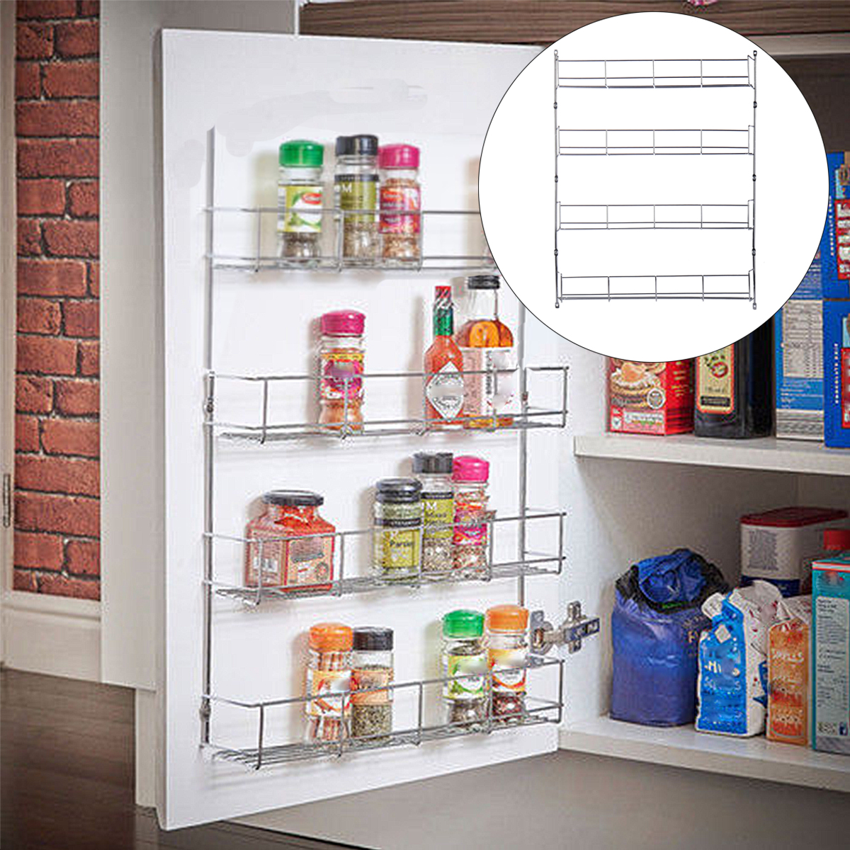 4 Tiers Kitchen Spice Jar Rack Cabinet Organizer Wall Mount Storage Shelf Bracket Holder