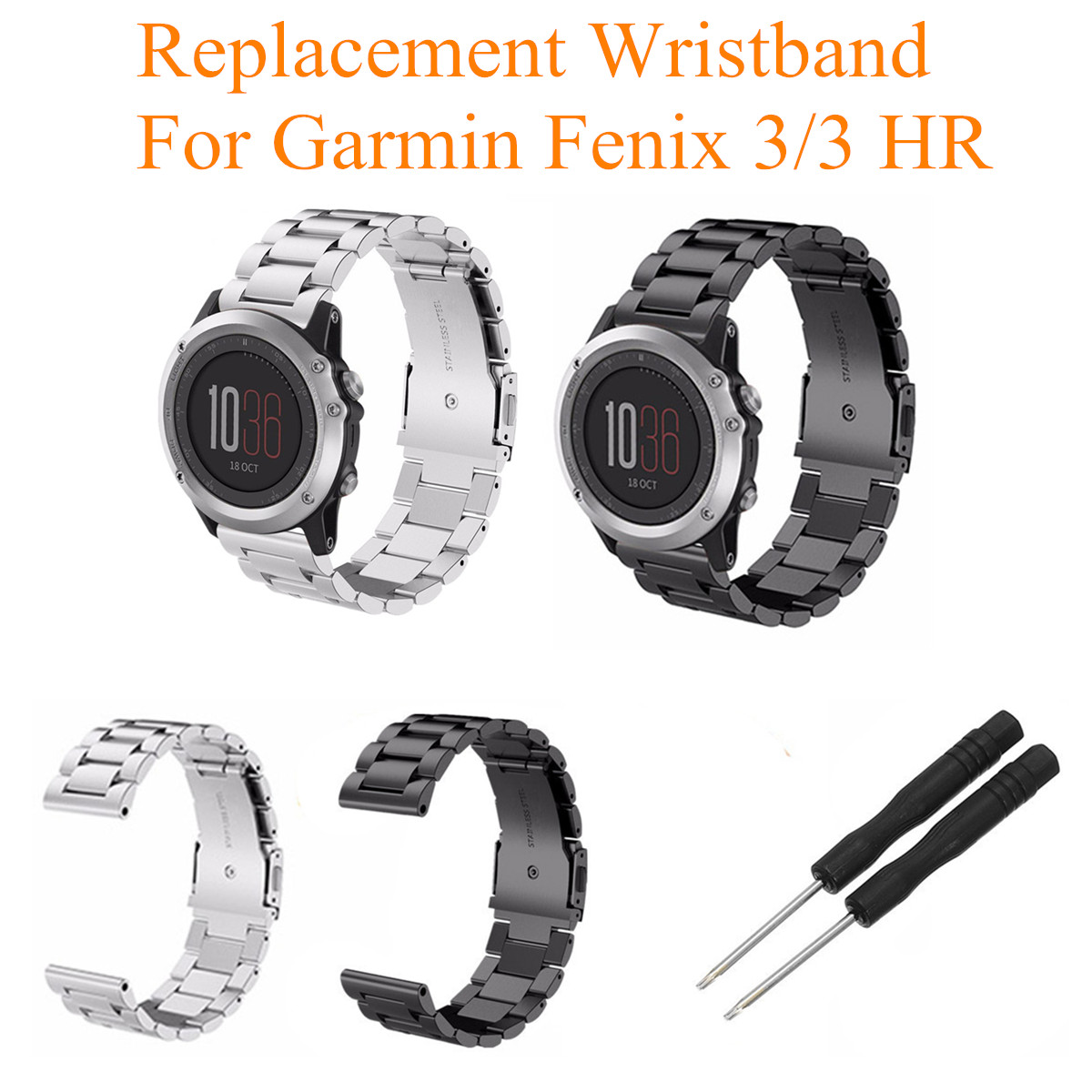 Stainless Steel Replacement Band Metal Wrist Strap For Garmin Fenix 3/3 HR Watch