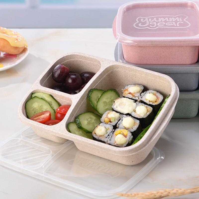 Wheat Straw Lunchbox 3 Grids With Lid Fruit Food Box Storage Container Biodegradable Bento Lunch Boxes For Kids Dinnerware