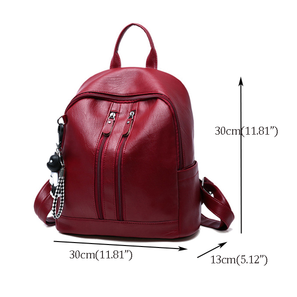 Double Shoulder Bag Wild PU Pendant Backpack For Women