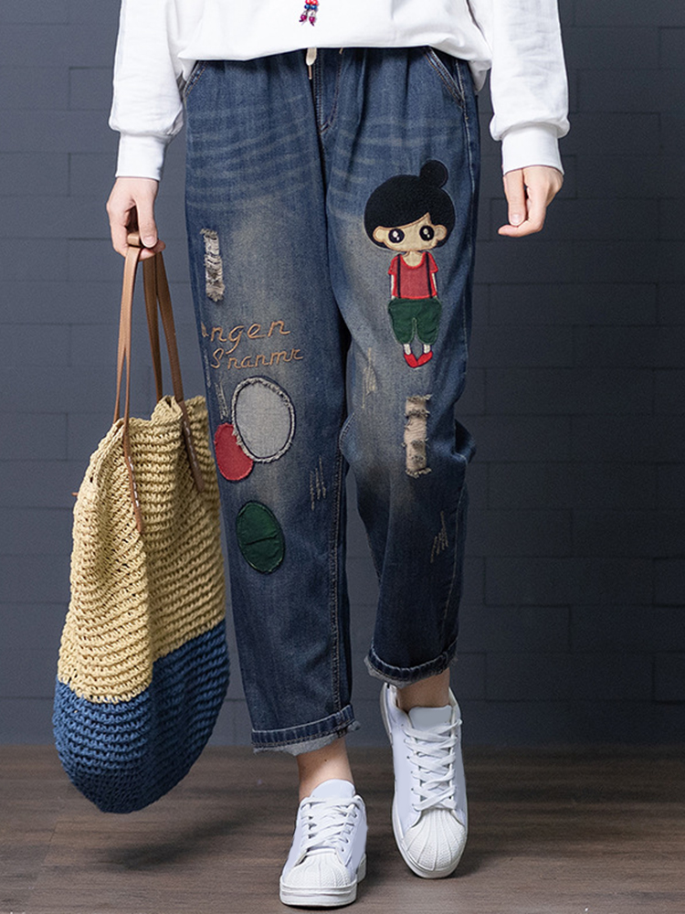Image of Karikatur-Stickerei-hohle Drawstring-Taillen-Denim-Jeans