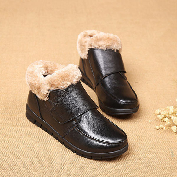 Genuine Leather Cotton Shoes Casual Slip On Fur Lining Boots