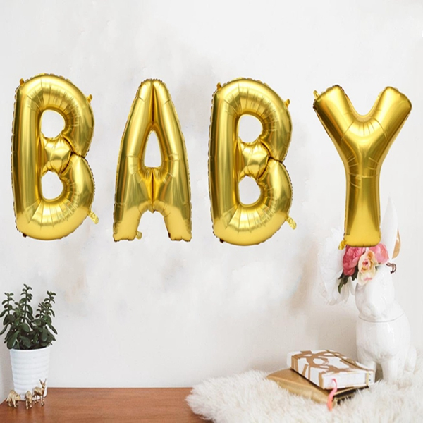 16/40 Inch Gold Silver Foil Balloons Mylar Baby Letter Alphabet Party Decor