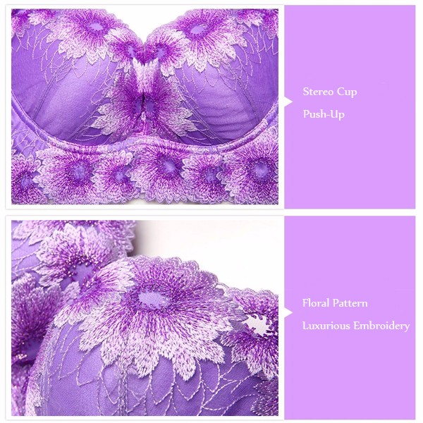 Women Luxurious Sunflower Floral Embroidery Wire Free Adjustment Push-Up Bras