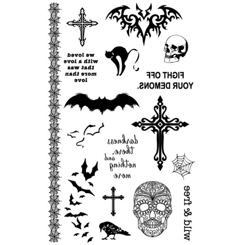 Halloween Horror Black Cat Bats Skull Cross Tattoo Stickers Waterproof