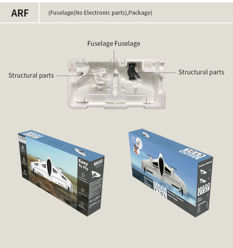 Mirarobot M600 600mm Wingspan Vertical Lift Flight VTOL EPO FPV Racer RC Airplane KIT - Photo: 5