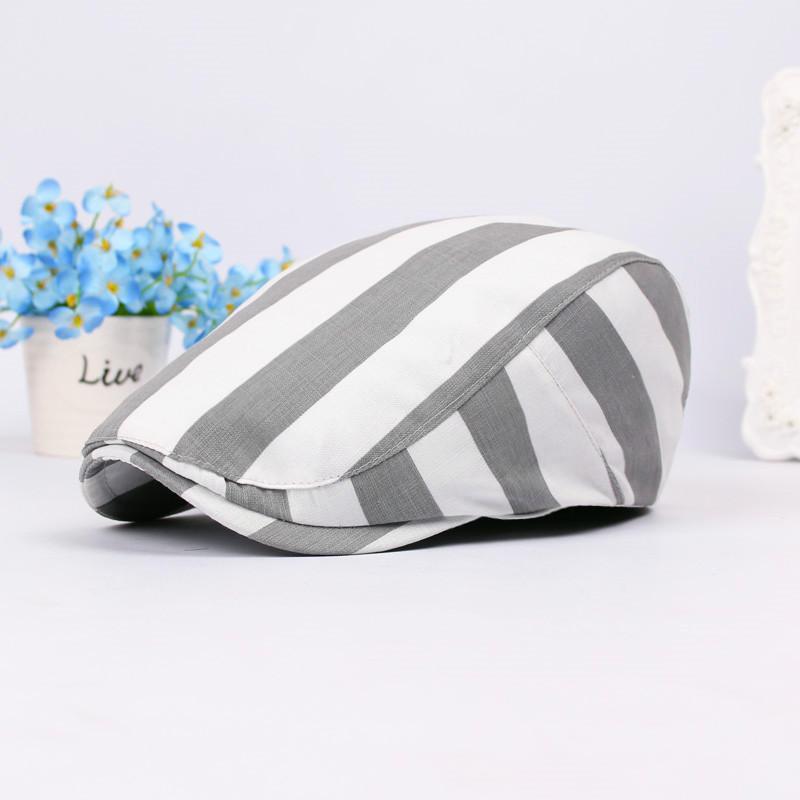 Unisex Stripe Cotton Beret Hat Buckle Adjustable Paper Boy Newsboy Cabbie Golf Gentleman Cap For Men