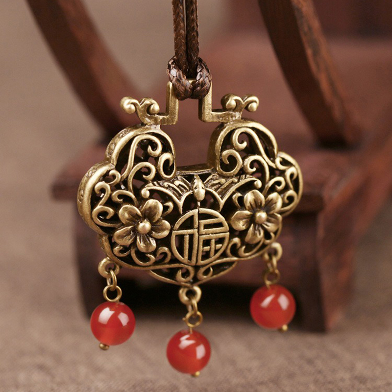 Vintage Red Agate Pendant Necklace
