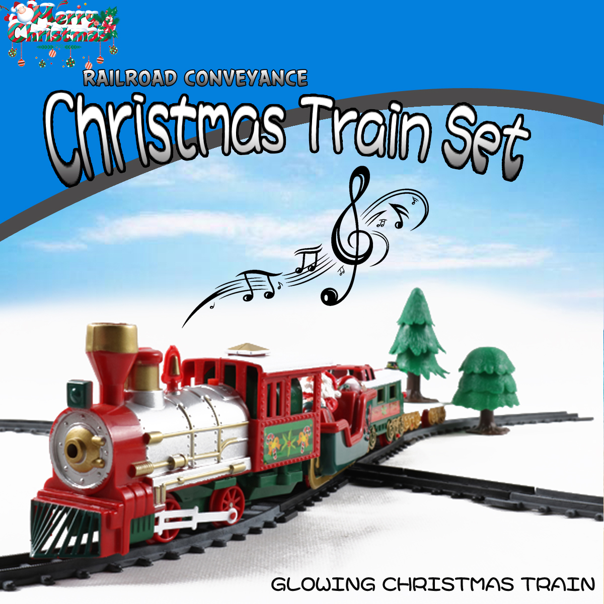 Christmas Electric Track Train With Sound Music Children Gift Locomotive Model Toys