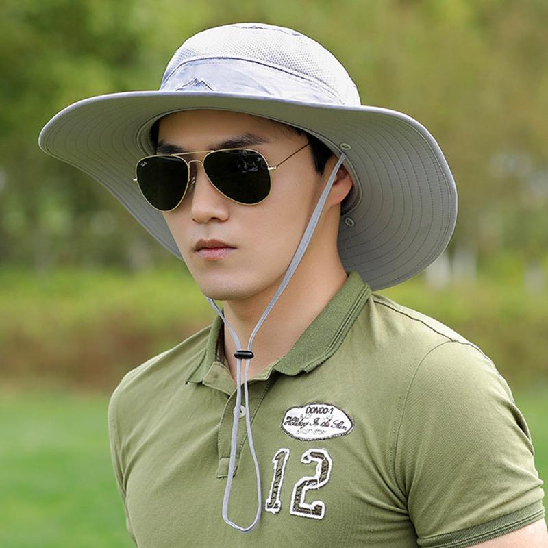 Wide Brim Fishing Cap Removable Mesh Neck Face Flap Hat