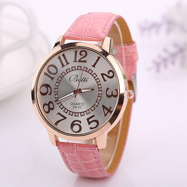 Fashion Big Number Rhinestones Dial Ladies Watch Casual Women PU Leather Analog Quartz Watch