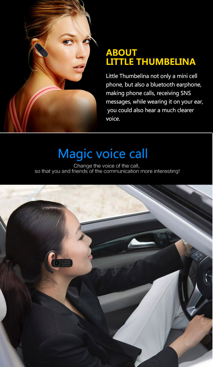 L8Star BM70 300mAh 0.66 Inch Single SIM Headset Dialer bluetooth Earphone Mini Card Phone