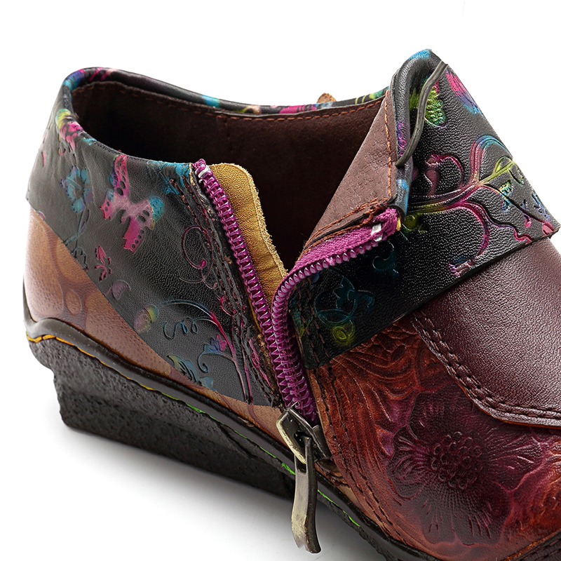 SOCOFY Pattern Leather Casual Flats