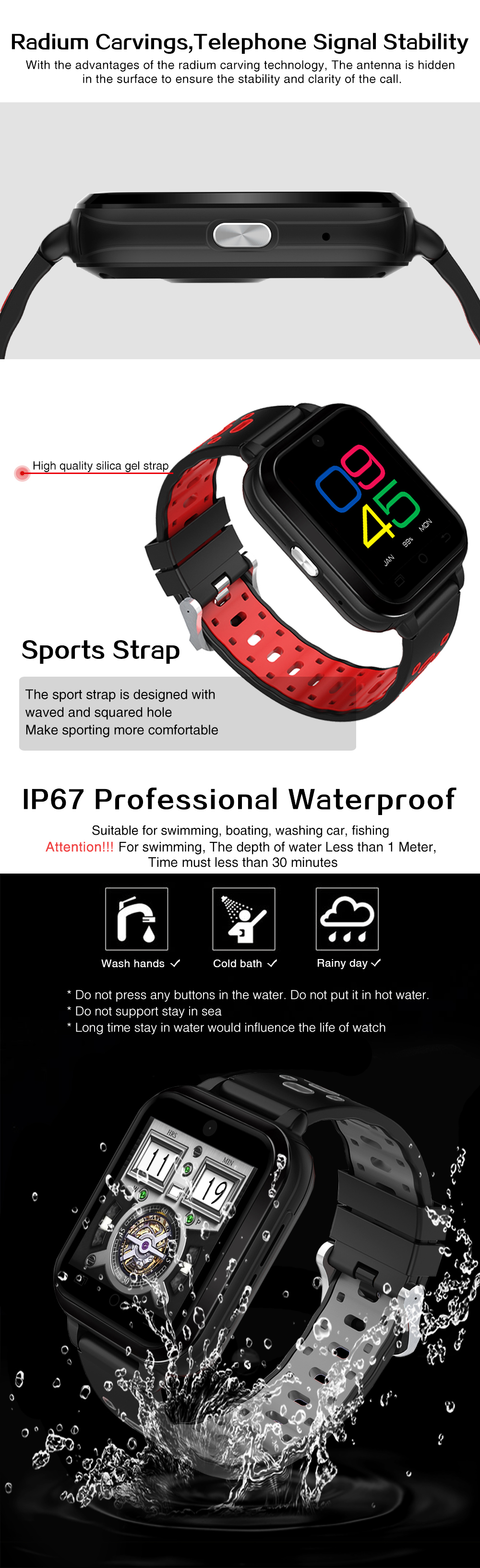 FINOW Q1 Pro Android6.0 4G Phone Call 1G RAM 8G ROM GPS WIFI IP67 Waterproof Smart Watch