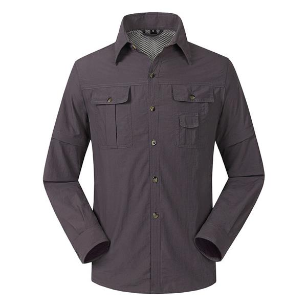 Mens Detachable Sleeve Quick Drying Waterproof Windproof Mountaineering Outdooors Sports Casual Shirt