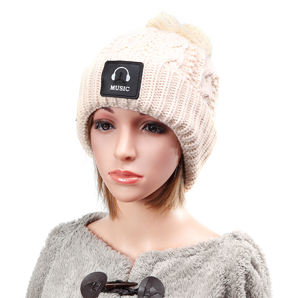 Women Wool Crochet Knitting Hat Plush Lining Ball Winter Warm Braided Ski Beanie Cap