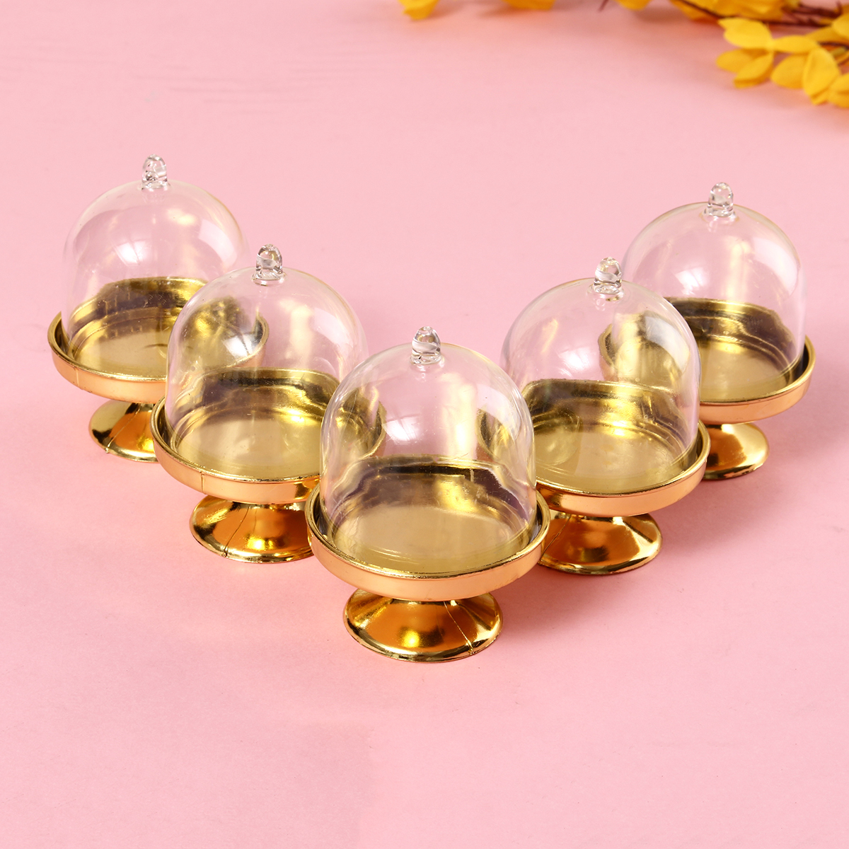 12 Pcs Mini Cake Stand Cupcake Box Plastic Candy Box Holder With Cover Kitchen Storage Container