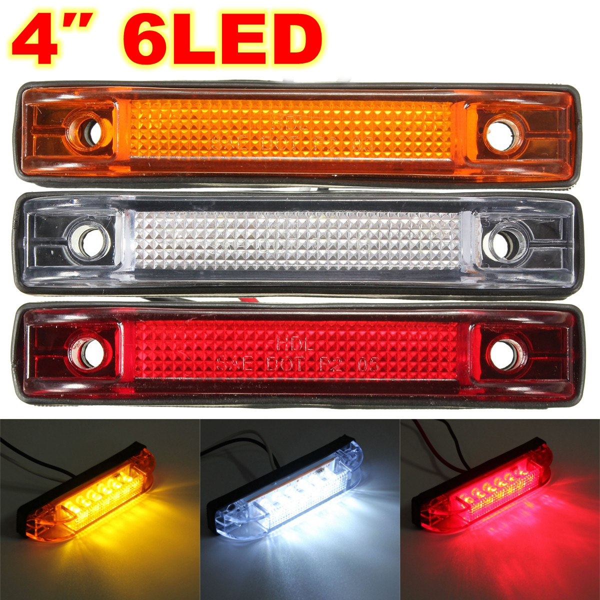 6 LED Clearance Side Marker Light Indicator Lamp Truck Trailer Lorry Van 12V 24V