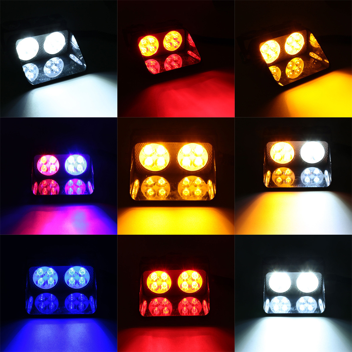 LED Windshield Warning Light Car Flash Police Beacon Emergency Strobe Signal Windscreen Lamp 12V