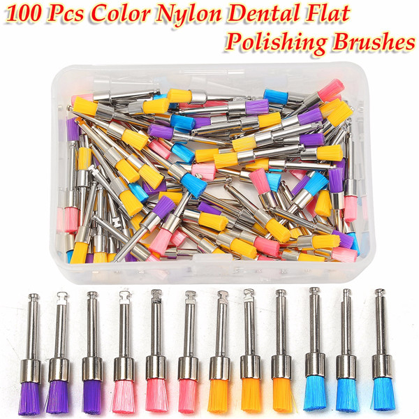 100pcs 2.35mm Shank Colorful Nylon Flat Polishing Brushes Set Polisher Prophy Brushes