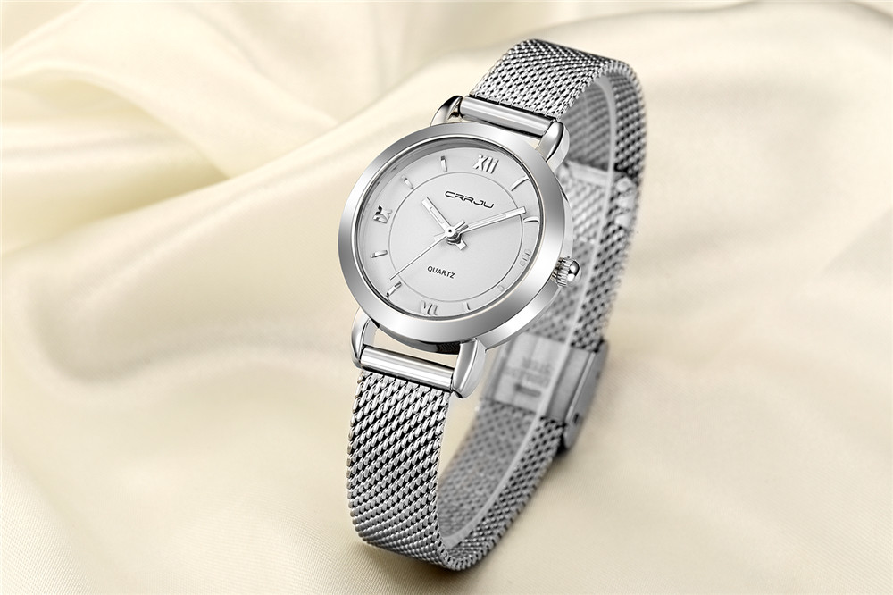 CRRJU 2121 Simple Design Ladies Gift Stainless Wrist Watch