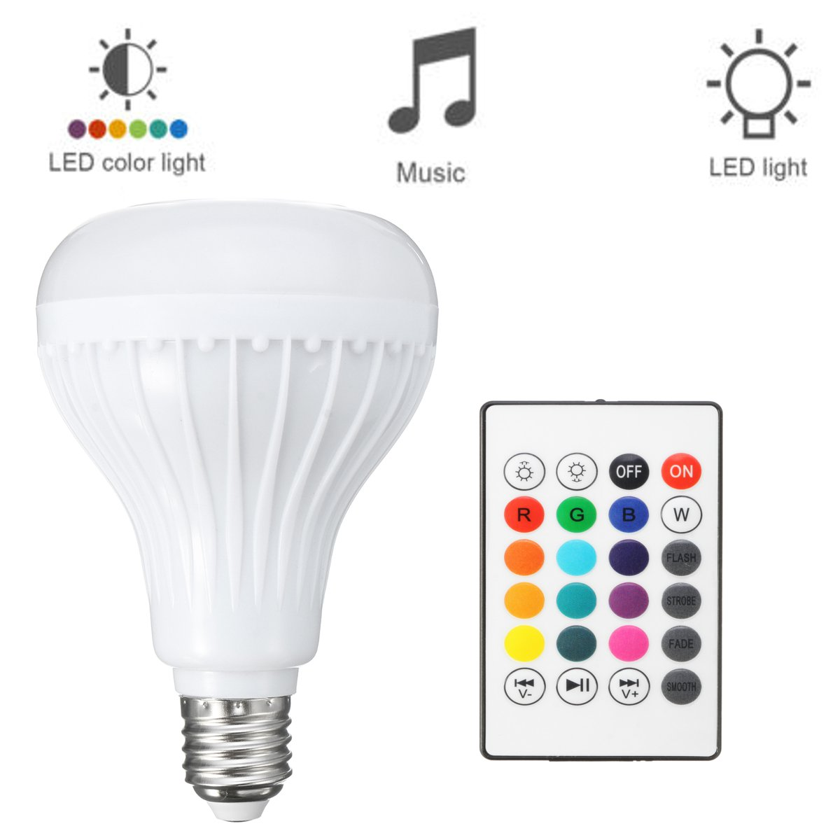E27 15W RGBW Wireless bluetooth Speaker Music Play LED Smart Light Bulb + Remote AC100-240V