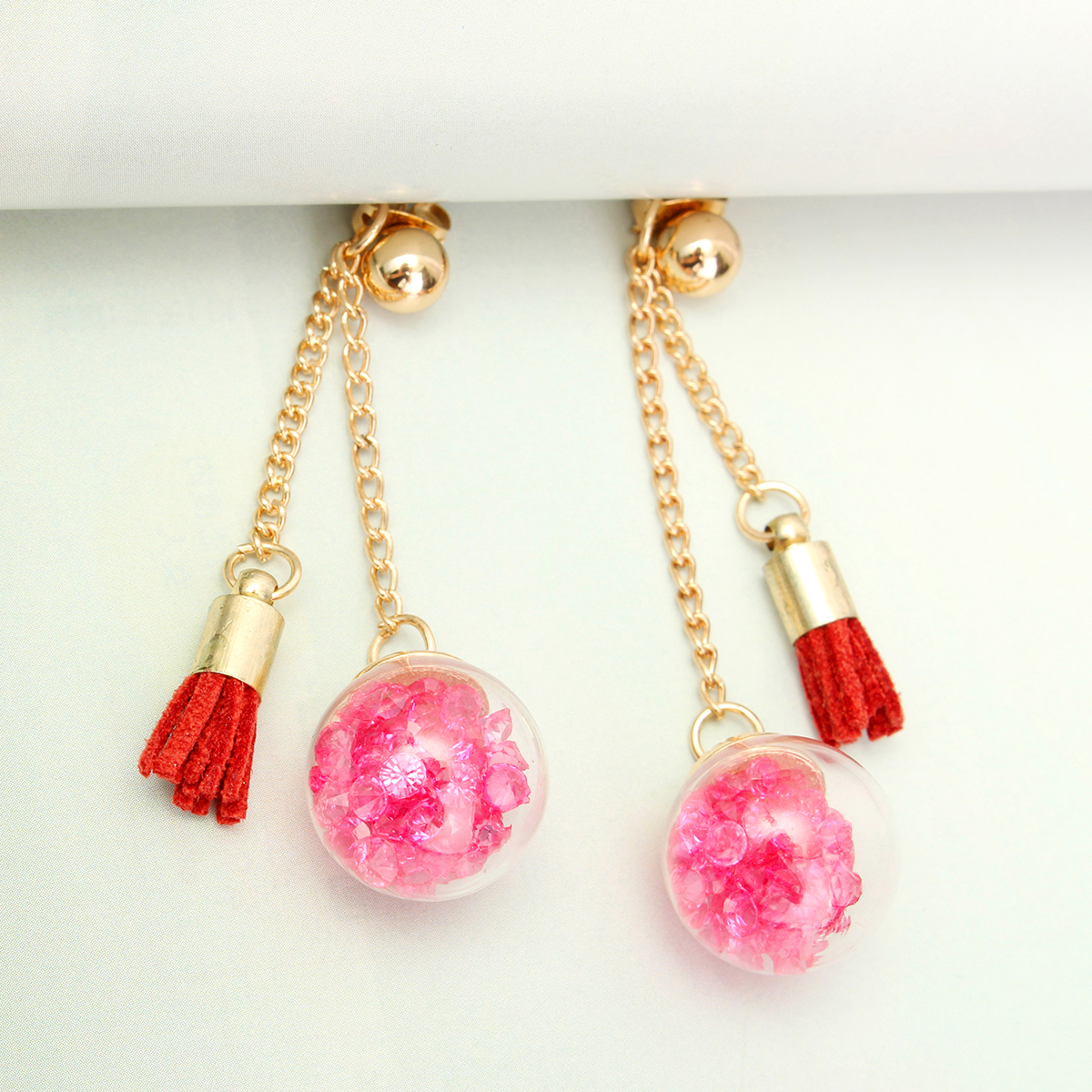Tassel Wishing Glass Ball Crystal Leather Long Earrings Gift