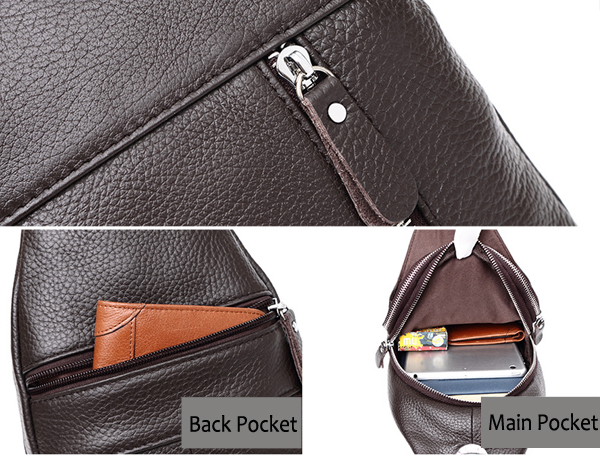 Men Stylish Leather Crossbody Shoulder Bag Business Casual Sling Bag for 7.9 Inch Ipad