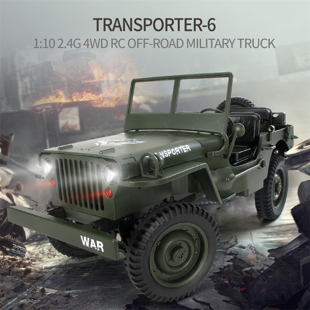 JJRC Q65 2.4G 1/10 Jedi Proportional Control Crawler Military Truck RC Car With Canopy LED Light