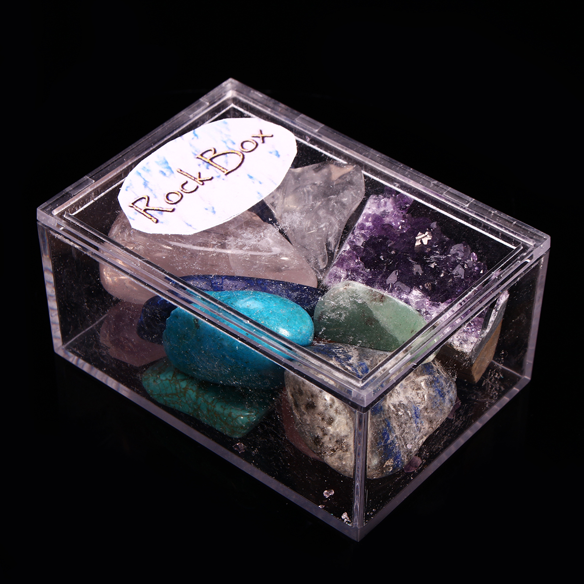 Natural Stone Collection Box Mix Gems Crystals Mineral Specimens Rock Decoration