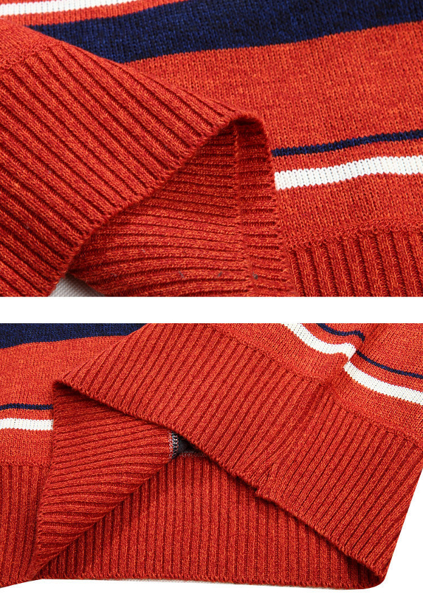 Mens Winter Thicken Zipper Stand Collar Sweater Casual Stripe Pullover Knitwear