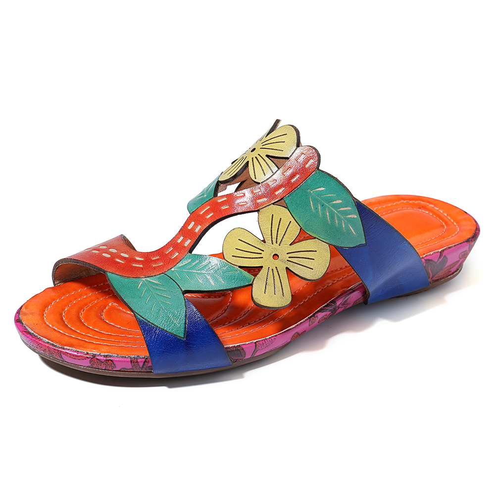 SOCOFY Handmade Flowers Comfy Leather Flat Sandals