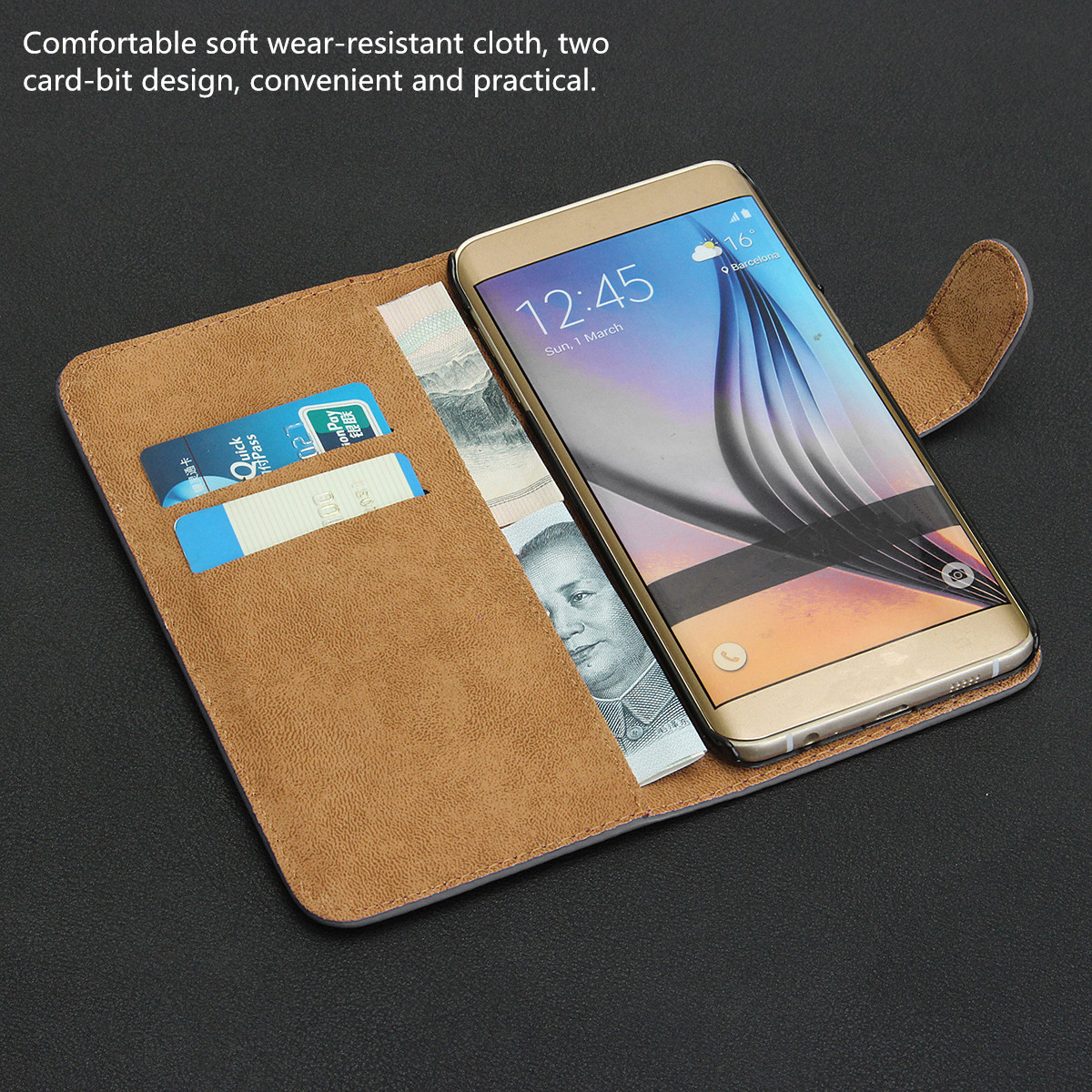 PU Leather Flip Card Slot Bracket Protective Case for Samsung Galaxy S6 Edge Plus