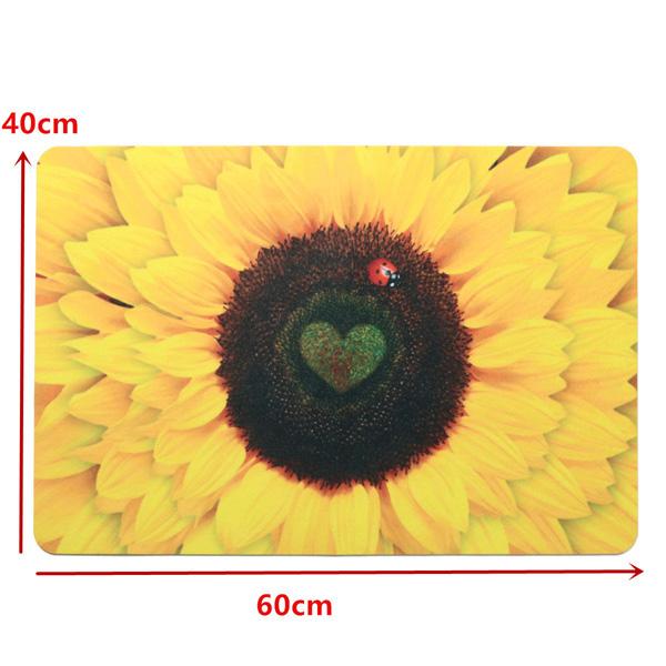 40x60cm 3D Sunflower Pattern Bathroom Mat Soft Non-slip Floor Carpet Bedroom Balcony Rugs