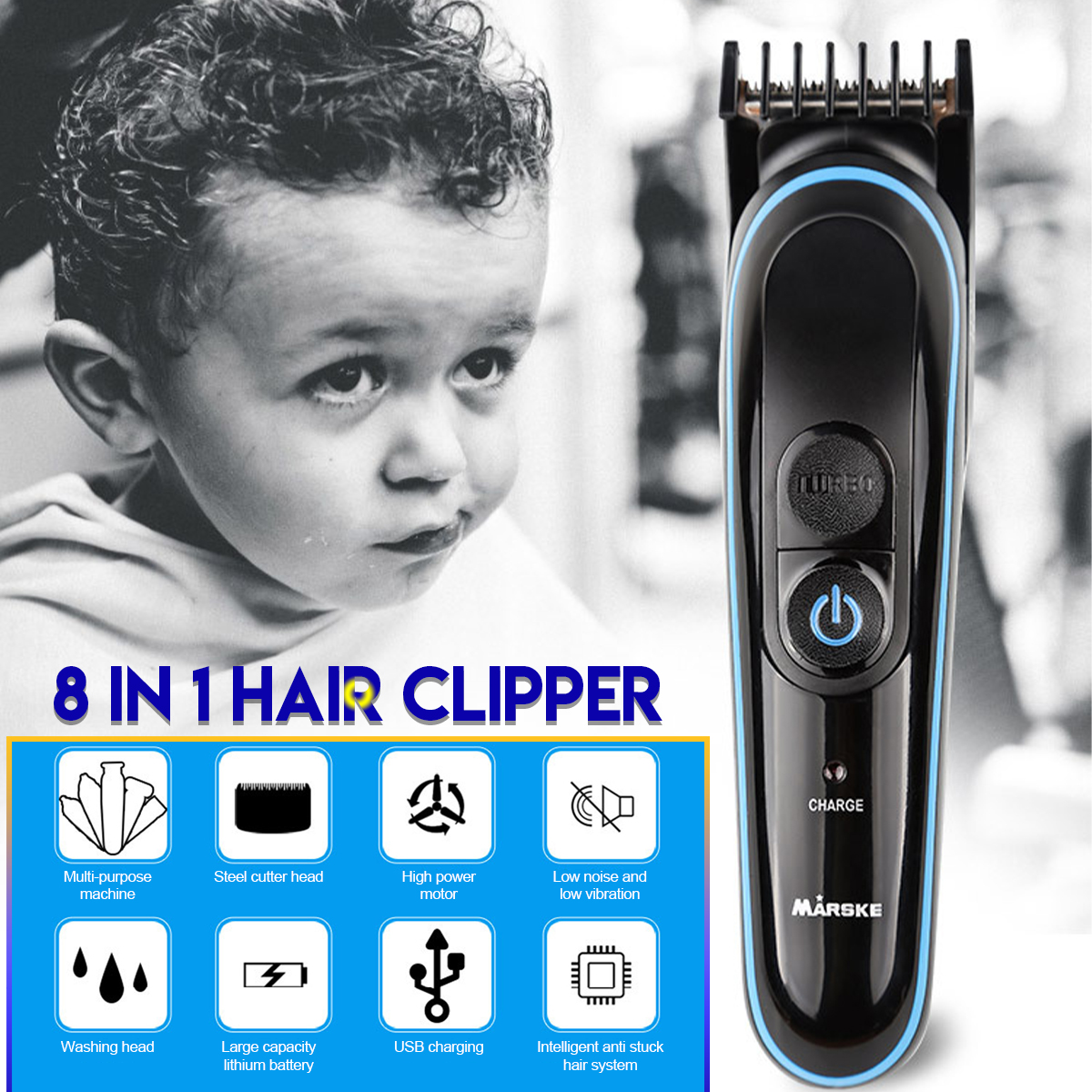 USB Men's 8 In1 Electric Hair Clipper Nose Hair Trimmer