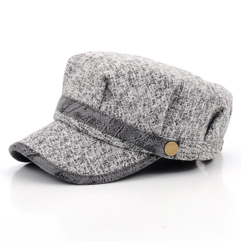 Women Vintage Knitted Woolen Octagonal Berets Hats Casual Casquette Caps