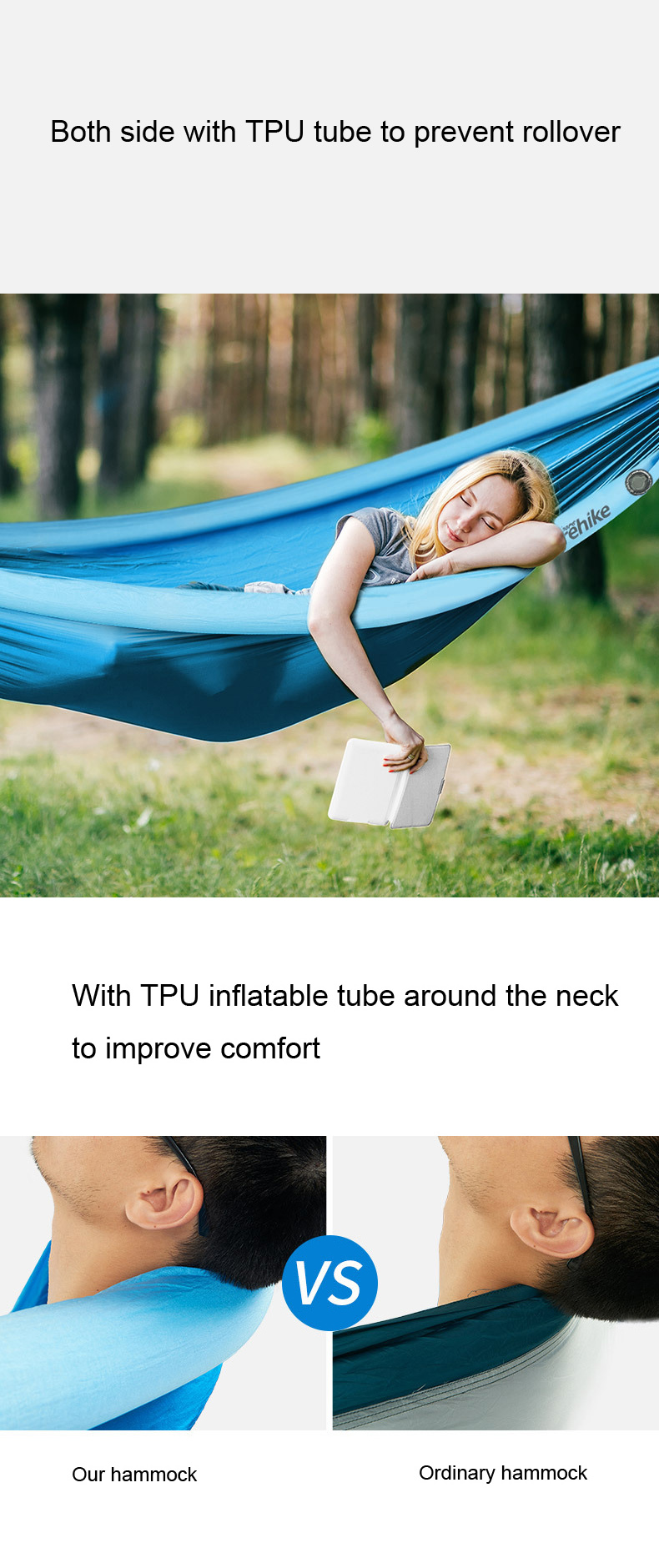Naturehike NH18D002-C Outdoor 3-4 People Camping Hammock Swing Hanging Bed Max Load 200kg