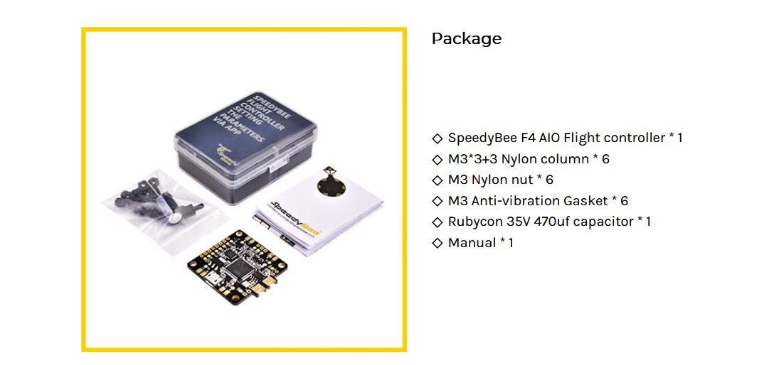 SpeedyBee F4 AIO Flight Controller STM32F405 OSD Integraded 5V PDB Board LC Filter BLE Module