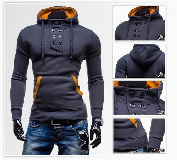 Mens Novel Double Breasted Hoodie Color Splicing 8 Buttons Slim Fit Sweatshirts