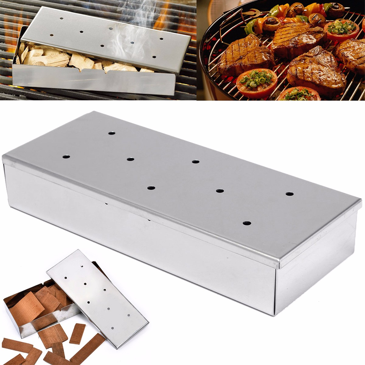 Stainless Steel BBQ Gas Grill Smoker Box Home Garden Outdooors Wood Chips Barbecue Tool Accessories